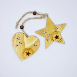 Set 2 decorazioni: cuore e stella