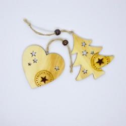 Set 2 decorazioni: cuore e albero