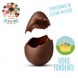 Uovo Pasqua Stagnolato in cestino di feltro - Fondente